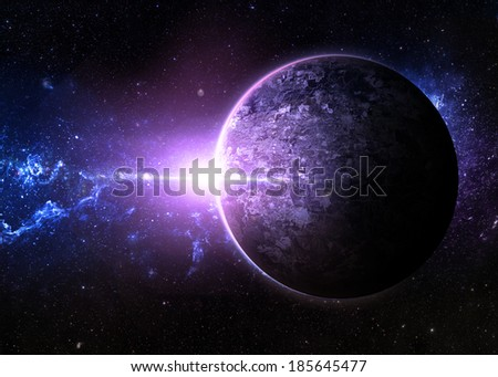 Purple Sunrise over Lone Planet - Elements of This Image Furnished By NASA