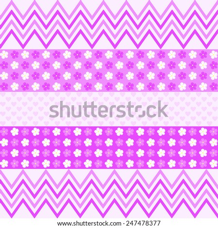 Purple zigzag pattern, flowers and small hearts on light purple background in a quadratic format