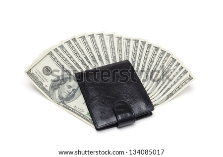 purse and money on a white background