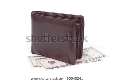 Purse with money isolated on a white background shadow below.