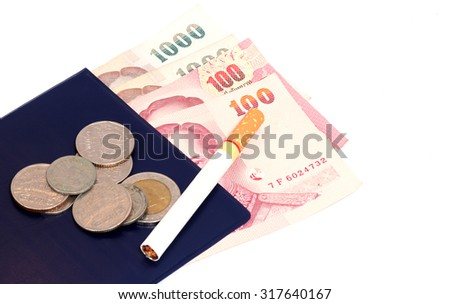 Purse with white background baht banknotes and coins.