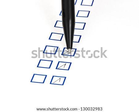 put tick in blue square box by black ballpoint