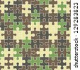 puzzle camouflage seamless pattern. Raster version, vector file available in portfolio. - stock photo