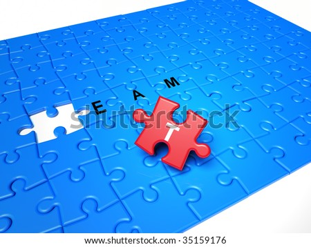 Puzzle pieces, the solution piece is missing