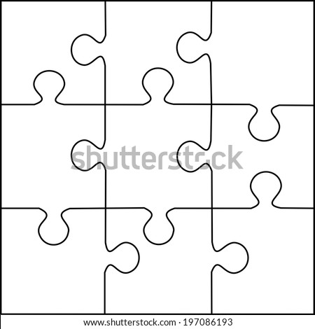 Puzzle Template  Pieces Vector Stock Vector   Shutterstock