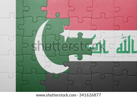 puzzle with the national flag of iraq and pakistan . concept