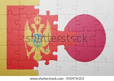 puzzle with the national flag of montenegro and japan. concept