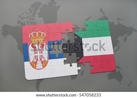 puzzle with the national flag of serbia and kuwait on a world map background. 3D illustration