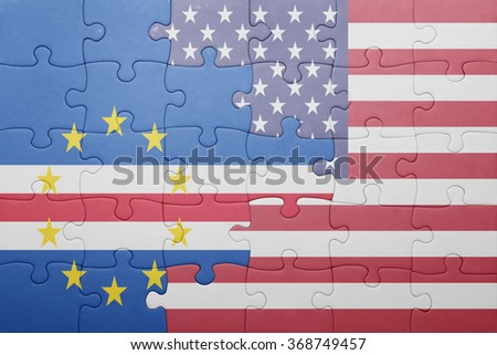puzzle with the national flag of united states of america and cape verde .concept