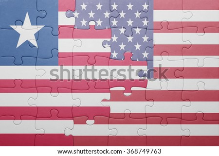 puzzle with the national flag of united states of america and liberia .concept