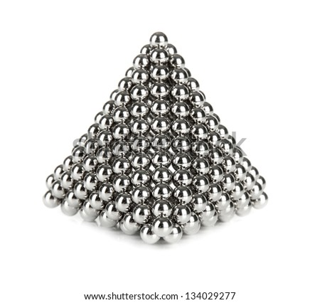 Pyramid of metal balls for neocube (toy), isolated on white