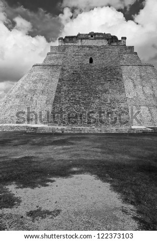 Pyramid of the Magician - Uxmal, Yucatan, Mexico (black and white)