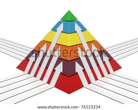 Pyramid sliced chart multicolor with white arrows