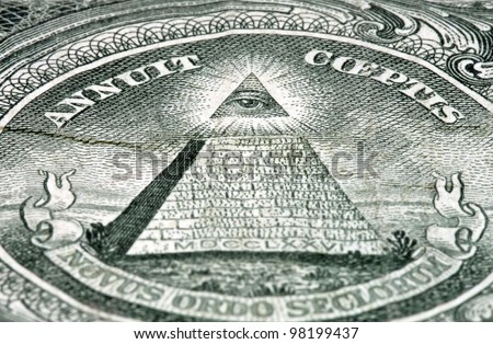 Pyramid with the eye on the USA dollar banknote