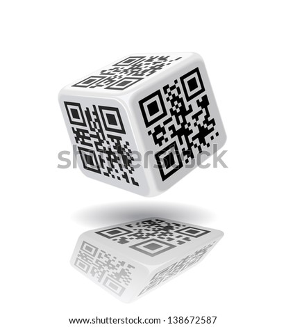 QR-code cube is on the white background.