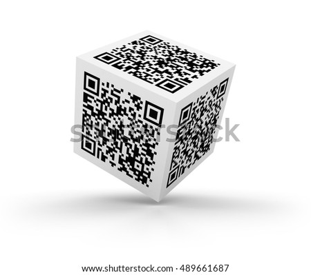 QR Code Cube on White Background - High Quality 3D Rendering / Illustration