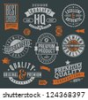 Quality and guaranteed - signs, emblems and labels - stock photo