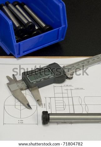 quality control process, checking part against CAD drawing