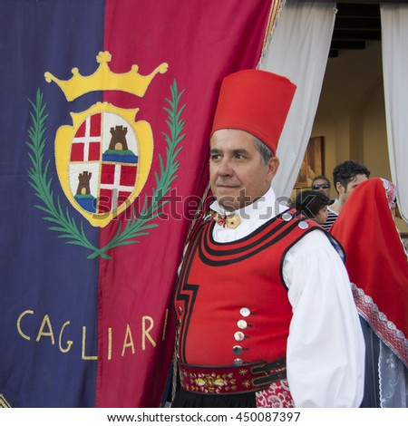 QUARTU S.E., ITALY - September 15, 2012: Parade of the Wine Festival 2012 - Sardinia - portrait of a man in the costume of Cagliari - Villanova
