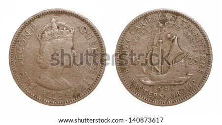 Queen Elizabeth THe Second 1955 British Caribbean Territories Eastern Group Twenty Five Cents Coin