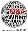 Question and answer info text graphic and arrangement concept on white background - stock