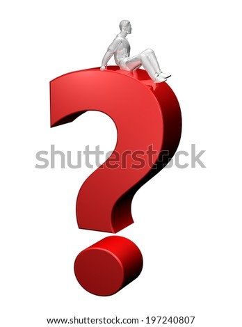 question concept with 3d question mark and person thinking