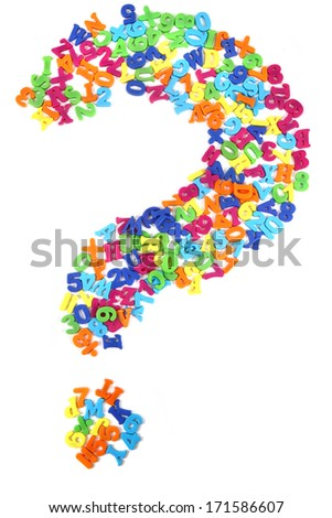 question sign from plastic letters isolated on the white background
