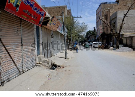 QUETTA, PAKISTAN - AUG 26: Shops seen closed during strike called by Jamhoori Watan Party on the occasion of 10th death anniversary of Nawab Akbar Khan Bugti, on August 26, 2016 in Quetta.