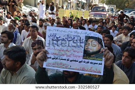 QUETTA, PAKISTAN - OCT 28: Activists of Jamat-e-Ahle Pakistan are demonstrating in favor of Mumtaz Qadri alleged in murder of Salman Taseer former Governor Punjab on October 28, 2015 in  Quetta.