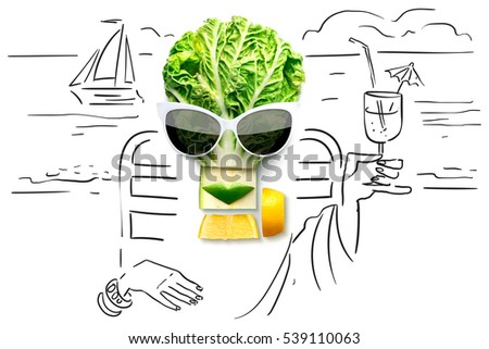 Quirky food concept of cubist style female face in sunglasses on a beach made of fruits and vegetables, on sketchy background.