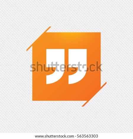 Quote Sign Icon Quotation Mark Symbol Stock Vector 530196571
