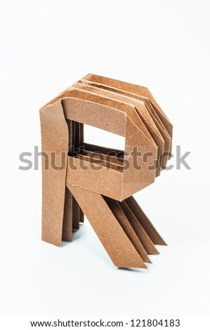 R-Origami alphabet letters recycled paper craft fold.