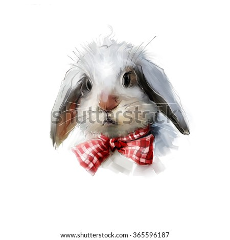 Rabbit hand painted watercolor illustration isolated on white background