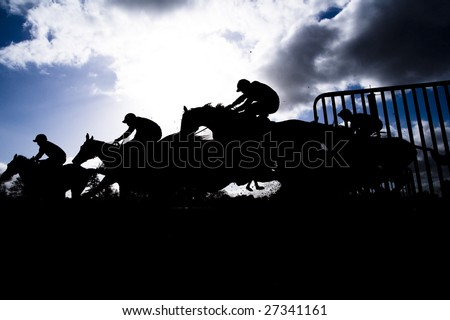 race horse jumping hurdle photographed in silhouette