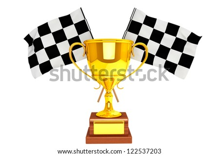 Racing concept. Golden Trophy and flags on a white background
