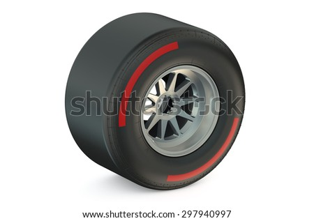 racing wheel with hard tyre isolated on white background