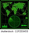 Radar screen with world map. Raster illustration. - stock photo