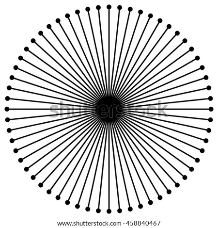 Radial circular lines with dots. Radiating lines. Abstract geometric element.