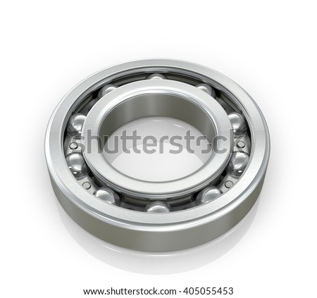 Radial roller bearing isolated white background.3D illustration