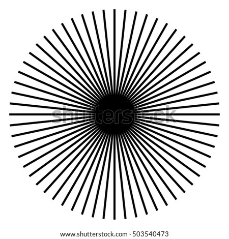 Radiating, radial lines. Starburst, sunburst shape. Ray, beam lines merging, intersecting at center. Geometric circular abstract illustration.