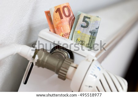 Radiators with euro banknotes
