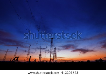 Radio Tower with sky background in sunset