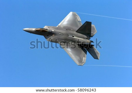 RAF FAIRFORD -JULY 18: USAF F-22 Raptor at the Royal International Air Tattoo July 18, 2010 in Fairford, United Kingdom