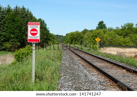 Railroad and Bilingual English-French Private Property Warning Sign