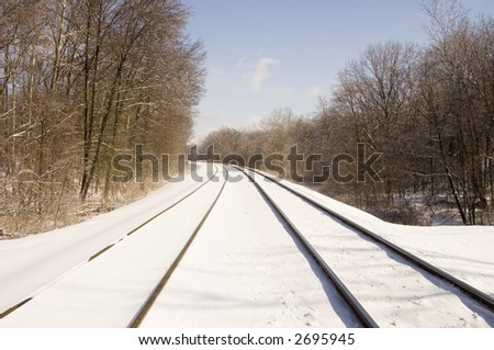 Railroad tracks are covered by snow and ice following a winter storm in Illinois