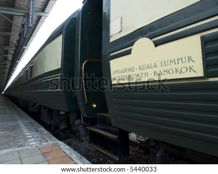 Railway cars of luxury express train between Singapore and Bangkok