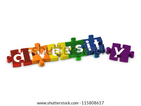 Rainbow coloured jigsaw pieces spelling out DIVERSITY