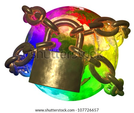 Rainbow Earth breaking golden chain - transformation of world