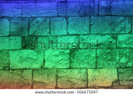 Rainbow Floodlighting on Medieval Stone Building, Yorkshire, England.