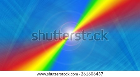 Rainbow on a blue  background with flare.
